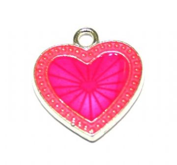 1pce x 22mm*20mm Hot pink enameled alloy star burst heart charms / pendants